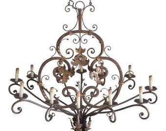 Wrought Iron 12 Chandelier