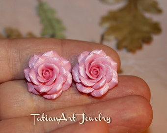 Pink Rose Earrings,  Handmade floral jewelry,Jewelry Fashion, Floral Jewellery, Bridesmaids Gift, Bridal Earrings, A nice gift for a lady.