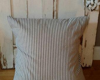 Ticking Pillow Cover -Farmhouse Pillow Cover- Blue Ticking Pillow - Vintage Pillow Cover -French Pillow- Farmhouse Decor-CottonBlossomStudio