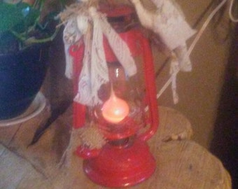 Vintage Lantern turned into soft red glowing light