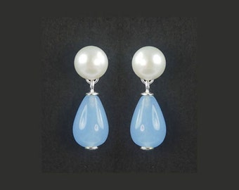 925 Silver White Freshwater Pearl,Blue Chalcedony Briolette Stud Earrings E086