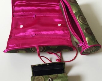 Cosmetic bag lipstick case with mirror