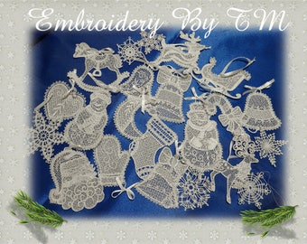 Big set christmas lace/machine embroidery design lace -FSL