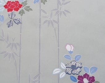 Japanese Silk KIMONO Fabric - Bamboo and Flowers (NEW) 2