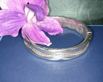 Silver Cuff Bracelet/Brighton Bracelet With Rhinestones/ Bracelet With Magnetic Clasp/Engraving Silver Bracelet Nr.140