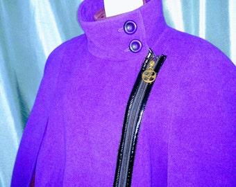 50% Off IMAN Cape Coat/ Size 1X Winter Cape/Women Cape Coat/ Purpule Cape Coat/Vintage Cape/Zip Up Cape Coat/ Item Nr. 167
