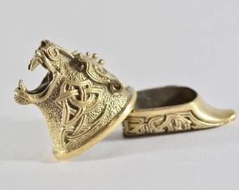 Celtic Bear Custom Knife Making Set of Finger Guard & Knives Pommel Bronze New USA