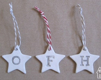 10 Personalised Alphabet Gift Tag, Personalised Initial Gift Tag, Nursery Decor, Wedding Favours, White Clay Star Tag , Old Flour House