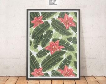 Tropical print, Palmtree art, Wall art, Digital print, Downloadable art, Printable poster, Digital download, Modern interiors, Home decor