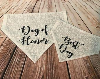 Reversible Wedding Over the Collar Dog Bandana. Best Dog and Dog of Honor Personalized
