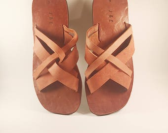 Mens' Leather Woven Sandal Size 8