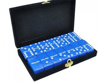 Blue Engraved Dominoes in Velvet Box with Spinner