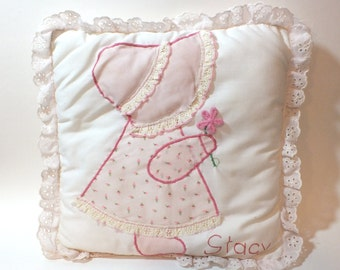 Vintage Quilted Pillow Pink Bonnet Girl Personalized Stacy 1980's Handmade Child's Pillow