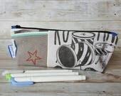 Pencil case zippered bag travel pouch rock rebel drumkit drums blue