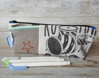 Pencil case zippered bag travel pouch rock rebel drumkit drums blue