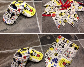 Disney Mickey Mouse bunting, bandana bib and baby booties. Perfect newborn gift, baby shower, nursery decor.