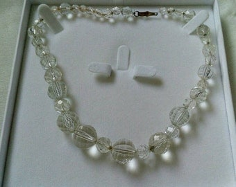 Art Deco Clear Quartz Beaded Necklace with Barrel clasp.