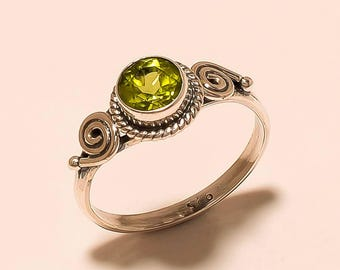 Wedding Ring Sterling Silver Ring Peridot Gemstone Ring Natural Peridot Ring 925 Solid Sterling Silver Ring Peridot Stone Ring Size 6.3 E258