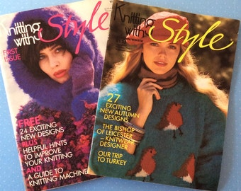 Knitting with Style Magazines - 1986 and 1987 Vintage Craft Books - First Issue - Retro Craft Magazines - Crochet Knitting Embroidery Sewing
