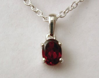 Genuine SOLID 925 STERLING SILVER January Birthstone Garnet Pendant