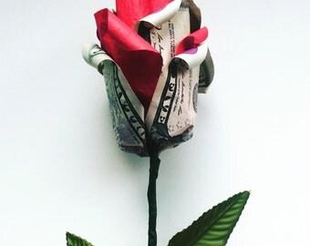 Origami Money Rose, Money Origami, Money Art, Paper Flowers, Origami Rose