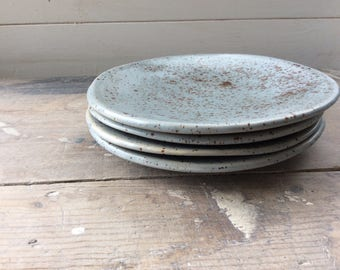 Handmade organic ceramic side plate speckled brown and light blue. Modern rustic pottery
