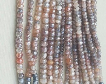 2 strands of coated MULTI MOONSTONE RONDELLE facetted 3.5-5.5mm 13""