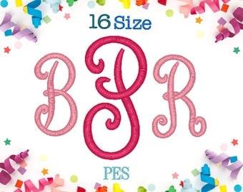 16 Sizes Pillow Monogram Embroidery Font PES Embroidery Machine,Embroidery Font,Embroidery Design,Monogram Font,Monogram Initials