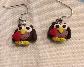 Clay owl earrings