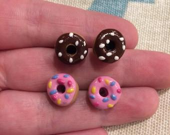 One pair Clay donut earrings
