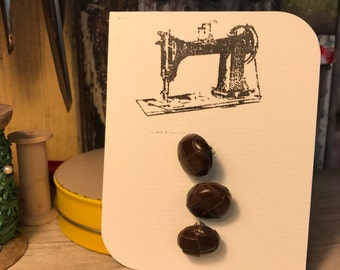 Retro leather brown button x 3