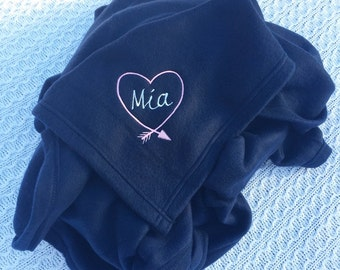 Embroirdered Heart & Arrow Fleece Blanket Personalized With Name- Monogrammed Blanket