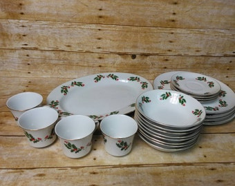21 Piece Vintage Christmas Holly China Set