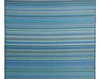 Indoor Outdoor Blue Multi Stripes Reversible Plastic Rug