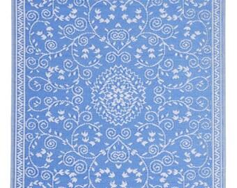 Indoor Outdoor Blue Classic Reversible Plastic Rug