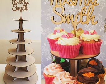7 Tier Cupcake Wooden Stand Personalised