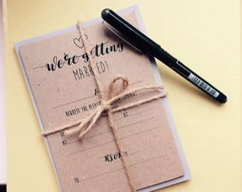Pack of 10 recycled card Wedding Invitations