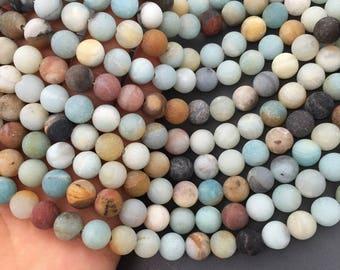 1Full Strand Matte Amazonite Round Bead 6mm 8mm 10mm 12mm Amazonite Gemstone  for Jewelry Making