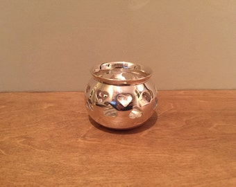 Silver Hearts Tealight Candle Holder
