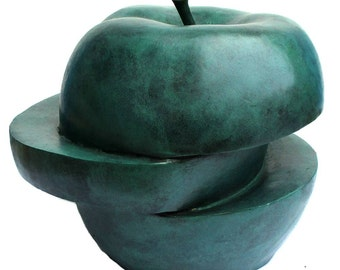 X Large Bronzesculpture Green Big Apple Abstract Dali Style 18kg Very Heavy Massive Sculpture Limited Edition