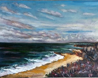 Original Oil Painting, Beach Sky, 1705051