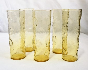 Set of 5 Gold-tinted dinner glasses/ Dinner Glasses