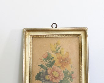 Vintage Borhese Framed Art // Floral Art with Gilded Gold Plaster Frame