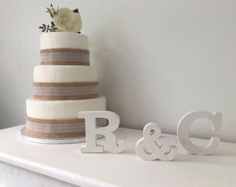 Rustic Wedding Cake Toppers - Personalised Cake Toppers - White Cake Topper Letters-Small Wooden Letters-Cake Topper Initals-White Initials