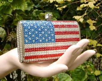 DANIELA 1970 drapeau américain cristaux minaudière