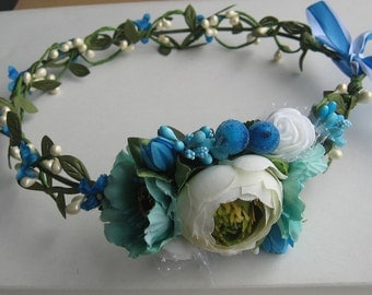 Turquoise Floral crown Flower headband Hair Vine Bridal headband  Flower wreath Hair band Headwear Festival Garland Wedding circlet