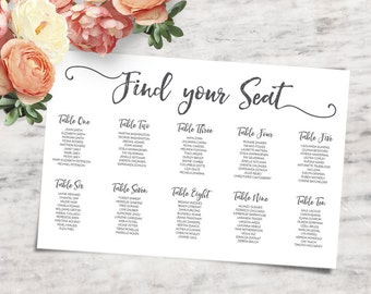 "12x18"" Printable Wedding Seating Chart, Wedding Place Card Alternative - INSTANT DOWNLOAD"