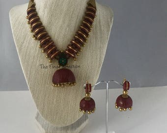 Maroon Terracotta One of a kind Necklace set