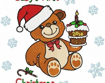 """Baby's First Christmas Machine Embroidery Design(2)- 3 sizes for 7.87"""" x 9.45"""" hoop - 5.51"""" x 6.30"""" hoop - Commercial Use - Instant Download"""
