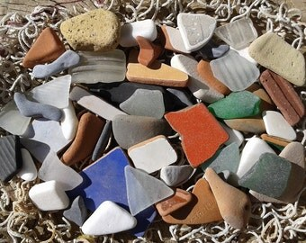 50+ various beach finds. Collection of sea glass, sea pottery and beach stones. Quality pieces.